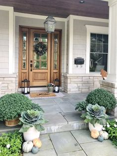 How To Create Your Perfect Fall Porch Life on Cedar Lane - Dekoration Ideen 2019 Front Door Porch, Front Door Decor, Front Porches, Front Porch Planters, Wood Front Doors, Decoration Entree, Front Door Design, Farmhouse Front, House Entrance