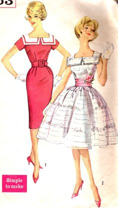 1950s Dress Pattern Simplicity 3453 Square Neck Dress Full or Sheath Skirt Womens Vintage Sewing Pattern Bust 32.