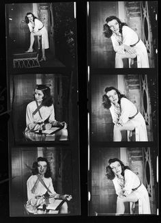 """Contact sheet of Katharine Hepburn on the set of her Broadway play """"The Philadelphia Story"""" in 1938, taken by Alfred Eisenstaedt."""