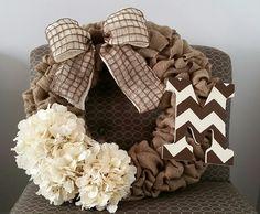 Custom Burlap Wreath with monogram, bow and flowers Burlap Monogram, Burlap Wreath, Bows, Wreaths, Flowers, Crafts, Decor, Decoration, Decorating