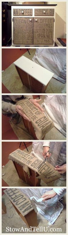 How to cover furniture drawers and doors with burlap or coffee bean sacks -http://www.stowandtellu.com