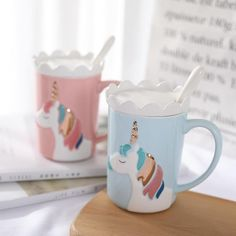 buy Creative Relief Glod Unicorn Coffee Mug with Spoon and Crown Lid Drinking Coffee Tea Cup Gift - wide free shpping Coffee Drinks, Coffee Cups, Tea Cups, Drinking Coffee, Pretty Mugs, Cute Mugs, Little Unicorn, Cute Unicorn, Rainbow Unicorn
