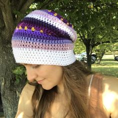 Free crochet pattern: Slouchy Beanie with video by Olena Huffmire Designs for Underground Crafter Easy Crochet Baby Hat, Slouch Hat Crochet Pattern, Slouchy Beanie Pattern, Crochet Slouchy Beanie, Slouchy Beanie Hats, Free Crochet, Knitted Hats, Knit Crochet, Crochet Patterns
