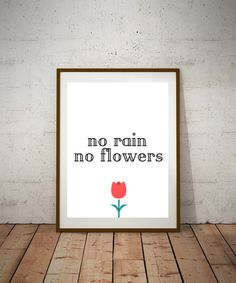 This adorable No Rain No Flowers printable poster is perfect for any apartment or workspace. Looking to revamp your home decor? Look no further. THIS LISTING IS FOR DIGITAL FILES AVAILABLE FOR INSTANT DOWNLOAD ONLY, NO PHYSICAL ITEM WILL BE SHIPPED. You will receive: 5 x 7 High Resolution PDF 8 x 10 High Resolution PDF 18 x 24 High Resolution PDF & JPG All files are ready to print. Buying and printing artwork has never been easier. Once purchased and payment is confirmed, you will be…