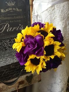 This listing includes 1 10in Round Bouquet with Beautiful Silk Yellow Sunflowers & Silk Purple Roses wrapped in Purple Satin Ribbon Criss Crossed in White sheer ribbon. **This Bouquet is complete as p