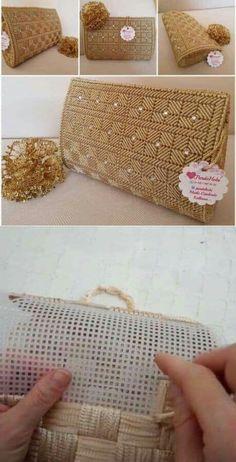 Plastic Canvas Box Patterns, Plastic Canvas Stitches, Plastic Canvas Crafts, Crochet Bag Tutorials, Crochet Crafts, Diy Handbag, Diy Purse, Crochet Handbags, Crochet Purses