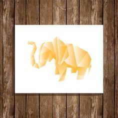 Elephant Origami Illustration 8x10 Art Print, Digital Print, Home Decor, Wall Art, Instant Download, Printable Art