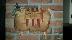 Primitive sheep with wire hanger