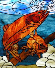 Darryl's Stained Glass Patterns - Trout ready to strike