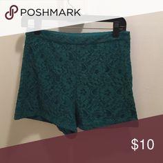 Green lace high waisted shorts size medium High waisted lace short Shorts
