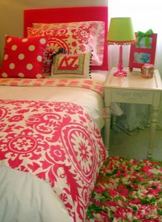 Pink, green, and white girls bedroom :) Love these colors together!!