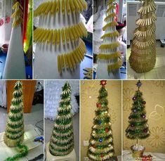 Christmas DIY: 25 gorgeous Christmas decorations you can make yourself Christmas Tree 2014, Christmas Tree Crafts, Holiday Crafts, Christmas Holidays, Holiday Decor, Xmas Tree, Christmas Villages, Pasta Crafts, Diy Crafts