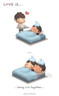 HJ-Story Love is. being sick together - HJ-Story Love Cartoon Couple, Cute Couple Comics, Anime Love Couple, Cute Comics, Funny Comics, Couple Art, Cute Love Stories, Cute Love Quotes, Funny Love