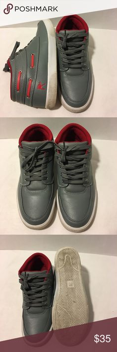 Rocawear shoes Great casual shoes! Grey in color with red insides. Soles are a bit dirty but not worn out. I used these shoes a handful of times and just wasn't my style. Very comfortable. Size 12. Shoot offers if it catches your eyes. Rocawear Shoes Sneakers