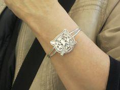 Sterling Silver Leopard Cuff Bracelet Artistic Handcrafted - Michele Benjamin - Jewelry Design