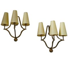 "Jean Royère Genuine Pair of Gold Leaf Metal Sconces, Model ""Jacques"" 