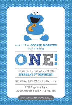 Cookie Monster Sesame Street Baby Birthday by HappyHeartPrinting