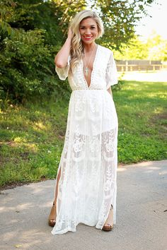 Lovely in London Lace Maxi Dress in White