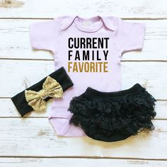Current Family Favorite Sparkle Onesie with Black Lace Ruffle Bottom Bloomers and Gold and Black Sequin Hair Bow | Baby Girl Clothes | Funny Baby Girl Onesie |  browse the entire collection at www.shopcassidyscloset.com