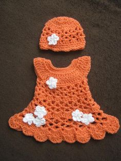 (4) Name: 'Crocheting : Blossom Newborn Dress Set