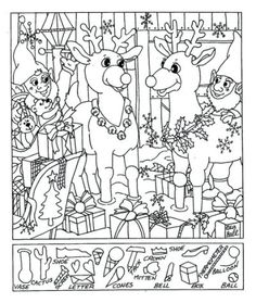 13 Spellbinding Hidden Pictures Colouring Pages, Printable Coloring Pages, Coloring Pages For Kids, Coloring Sheets, Christmas Worksheets, Worksheets For Kids, Christmas Activities, Lynx, Puzzle Photo