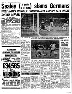Daily Mirror's report on the 1965 European Cup Winners Cup final, West Ham 2 TSV Munich 1860 0