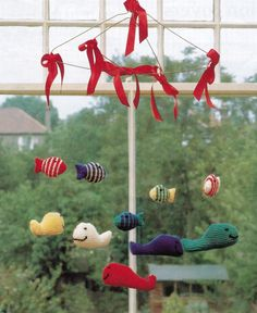To knit this Hanging Fish and Whale Mobile you will need a 4 ply yarn. Pattern available on Ebay.