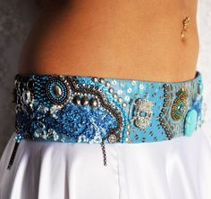 Belly Dance Belt in turquoise, silver and a bit of peacock.