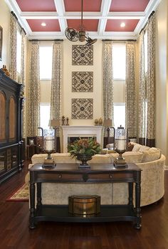 love the bands of brown. Beautiful, warm living space with coffered ceiling Living Room Designs, Living Room Decor, Living Spaces, Living Rooms, Family Rooms, Living Area, Room Interior Design, Interior Design Services, Charlotte Nc