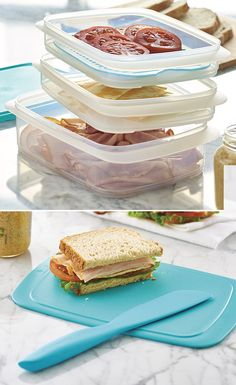 Fridge Stackables. Conveniently store cold cuts and toppings for an at-home or on-the-go sandwich station. Redesigned Fridge Stackables feature an improved seal for portability and new grids to keep sandwich toppings above moisture.