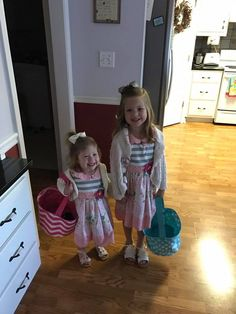 Ellie and Kinsley ready for an Easter Egg Hunt