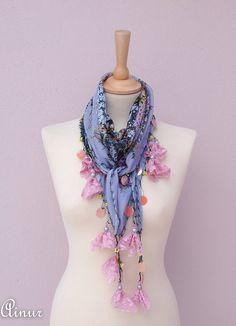 BOHO-Turkish - Gray scarf- OYA scarf-Yemeni Anatolian-Ethnic-floral scarf-Handmade crochet oya, traditional Turkish Fabric scarf