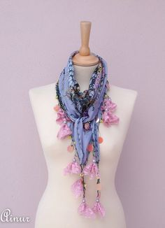 Ready to ship These scarves are beautiful, eye catching,young and sophisticated.    Cotton Fabric, soft, lightweight.    Neon pink flowers You can use