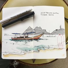Sairee beach, Koh Tao  ...  #moleskine #sketchbook #lamysafari #fountainpen  #winsorandnewton #watercolor #waterbrush #liner  ...  #sketch #travelsketch #artjournal #traveljournal #thailand_in_sketches #fishingboat #drawing #boat #linework #watercolorandink #arqsketch #arquitetapage #arsketch #peaceful #kohtao #saireebeach #saireebeachkohtao