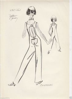 FOUR ORIGINAL VOGUE ANDRE COURREGES FASHION STATS FROM THE 50'S