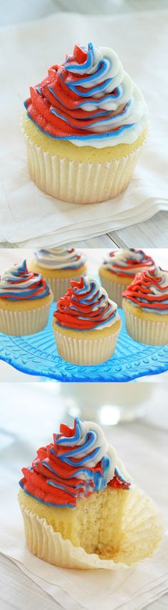 Red, White and Blue Cupcakes – A delicious and simple recipe perfect for July 4th, or for whenever you're feeling Patriotic! | rasamalaysia.com