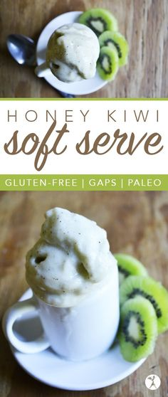 Honey Kiwi Soft Serve :: Paleo and GAPS-friendly Source by raiasrecipes Paleo Dessert, Gluten Free Desserts, Dairy Free Recipes, Paleo Recipes, Real Food Recipes, Dessert Recipes, Cooking Recipes, Kiwi Dessert, Banting Recipes