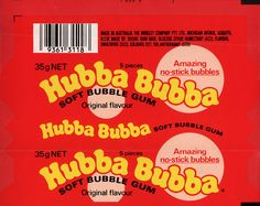 Wrigley Australia - Hubba Bubba - Grape flavour bubble gum wrapper proof - - big bubbles, no troubles. My Childhood Memories, Sweet Memories, Bubble Yum, Photographie Indie, Growing Raspberries, Retro Candy, 80s Candy, Vintage Candy, Big Bubbles
