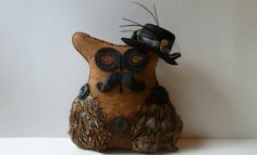 Steampunk owl felt fiber art doll black tan by DarkPicketFence, $25.00