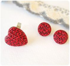 Small Red Studs round Earrings imitation knitting Polymer clay. $23,00, via Etsy.