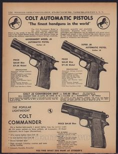 1955 COLT Government Model .45, Super .37, Commander Pistol AD #Colt