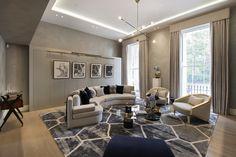 1508 London Park Crescent - luxury interior design, living room decor with curved sofa.