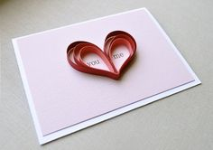 You and Me Heart Blank Card - quilling, red, dark pink, light pink, white. $4.25, via Etsy.