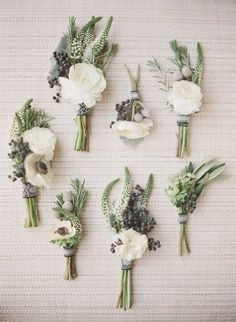 Love these. http://www.deerpearlflowers.com/romantic-and-timeless-green-wedding-color-ideas/