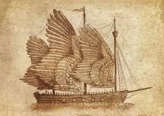 metal print Illustration ships ocean sea nautical vintage wings feathers fantasy sepia