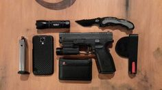 EDC - Nebo flash light, M&P assisted open knife, Samsung Galaxy S4 with carbon fiber case, Swiss Army wallet, Versacarry holster an additional magazine and my Springfield XD40 with tactical light. I have to say I was very skeptical about the Versacarry, but I really love it.
