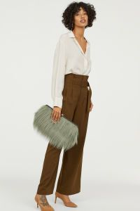 Weite Paperbag Hose Dunkles Khakigrun Damen H M De Online Shopping Clothes Women Clothes Clothes For Women