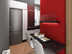 Kitchen : Fascinating Small Apartment Interior Design Ideas With Black Mounted Table And White Chairs Also Built In Fridge And White Kitchen Cabinets Also Brown Wooden Floor And Red Grey Wall Paint Colors Ideas Drop Dead Gorgeous Kitchen Decorating Ideas Classic Kitchen Island. Golden Dinner Set. Seat Barchair.