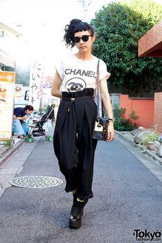 Chanel, High Waist Pants & Belly Button Platform Shoes