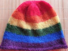 Hand-knitted Pride rainbow hat in luxury yarn and gorgeous colors size S/M Angora Rabbit, Rainbow Pride, Ear Warmers, Wool Yarn, My Ebay, Mittens, Hand Knitting, Knitted Hats, Crafts